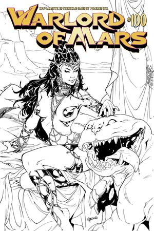 Warlord Of Mars #100 Cover K High-End Emanuela Lupacchino Black & White Ultra-Limited Variant Cover (ONLY 25 COPIES IN EXISTENCE!)