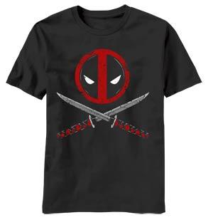 Deadpool Crossbones Black T-Shirt Large