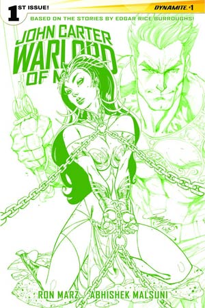 John Carter Warlord Of Mars Vol 2 #1 Cover Q Rare J Scott Campbell Martian Green Cover