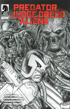 Predator vs Judge Dredd vs Aliens #4 Cover B Variant Glenn Fabry Sketch Cover