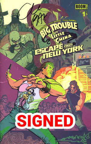 Big Trouble In Little China Escape From New York #1 Cover G Regular Jack Burton Foreground Cover Signed By Greg Pak