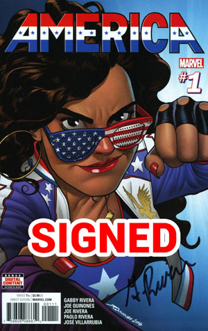 America #1 Cover H Regular Joe Quinones Cover Signed By Gabby Rivera