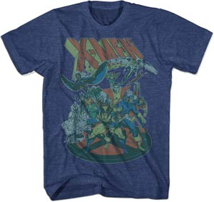 X-Men 80s 1 Navy Heather T-Shirt Large