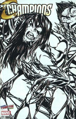 Champions (Marvel) Vol 2 #1 Amazing Spider-Man Vol 4 #19 DF Comicxposure Exclusive Humberto Ramos Connecting Black & White Variant Cover Set