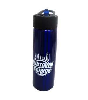 Midtown Comics Logo 24oz Blue Stainless Steel Water Bottle