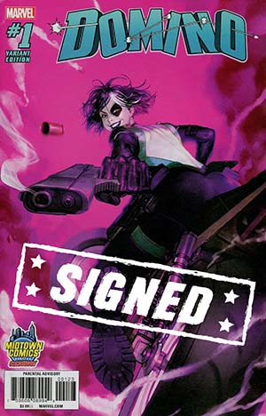 Domino Vol 3 #1  Midtown Exclusive Soo Min Seong (Akcho) Variant Cover Signed By Gail Simone (Limit 1 Per Customer)