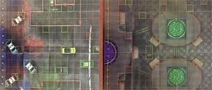DC HeroClix 2017 Ace Stree Outdoor / Ace Chemicals Indoor Double Sided Map