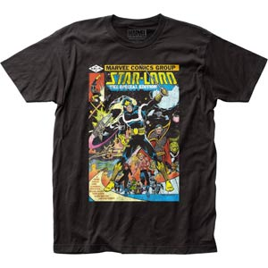 Guardians Of The Galaxy Star-Lord Cover Fitted Jersey Black T-Shirt Small