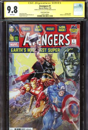 Avengers Vol 7 #1  Midtown Exclusive Clayton Crain Variant Cover Signed And Captain America Sketch By Clayton Crain CGC 9.8