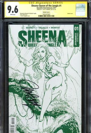 Sheena Vol 4 #1 Cover R Limited J Scott Campbell Jungle Green Premium Edition Signed By J Scott Camp