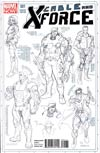 Cable And X-Force #1 Incentive Salvador Larroca Design Sketch Variant Cover