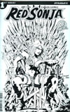 Red Sonja Vol 7 #1 Cover N DF Exclusive Kewber Baal On The Throne Black & White Variant Cover