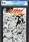 Action Comics Vol 2 #1000 Cover Z-W DF Exclusive Dan Jurgens Wraparound Black & White Variant Cover CGC Graded