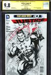 Justice League Vol 2 #0 Cover F Incentive Gary Frank Sketch Cover Signed By Zachary Levi CGC 9.8