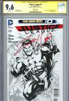 Justice League Vol 2 #0 Cover G Incentive Gary Frank Sketch Cover Signed By Zachary Levi CGC 9.6
