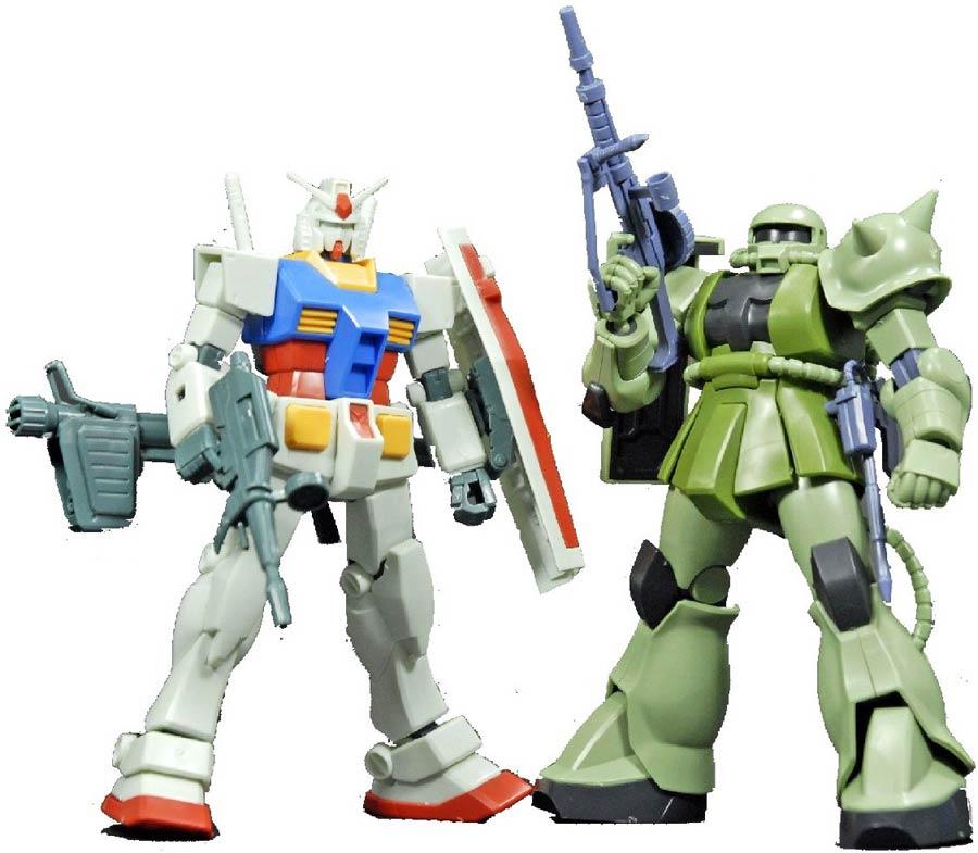 Gundam High Grade Universal Century 1/144 Kit - Gunpla Starter Set - Gundam Vs Zaku II 2-Kit Set