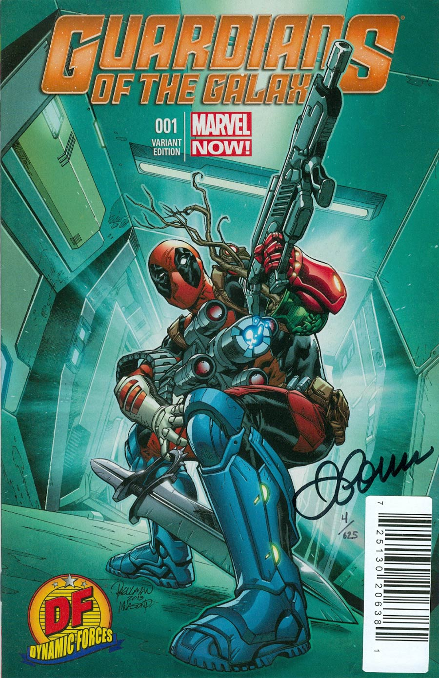 Guardians Of The Galaxy Vol 3 #1 Cover Q DF Exclusive Carlo Pagulayan Deadpool Variant Cover Signed By Justin Ponsor