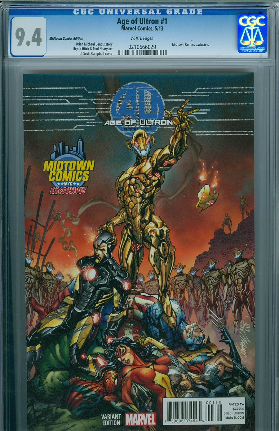 Age Of Ultron #1 Cover K Midtown Exclusive J Scott Campbell Color Variant Cover CGC 9.4