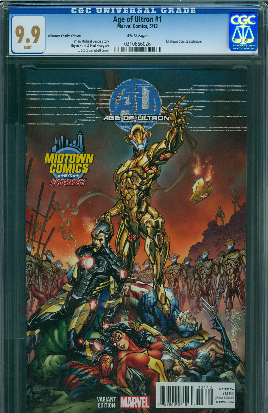 Age Of Ultron #1 Cover M Midtown Exclusive J Scott Campbell Color Variant Cover CGC 9.9