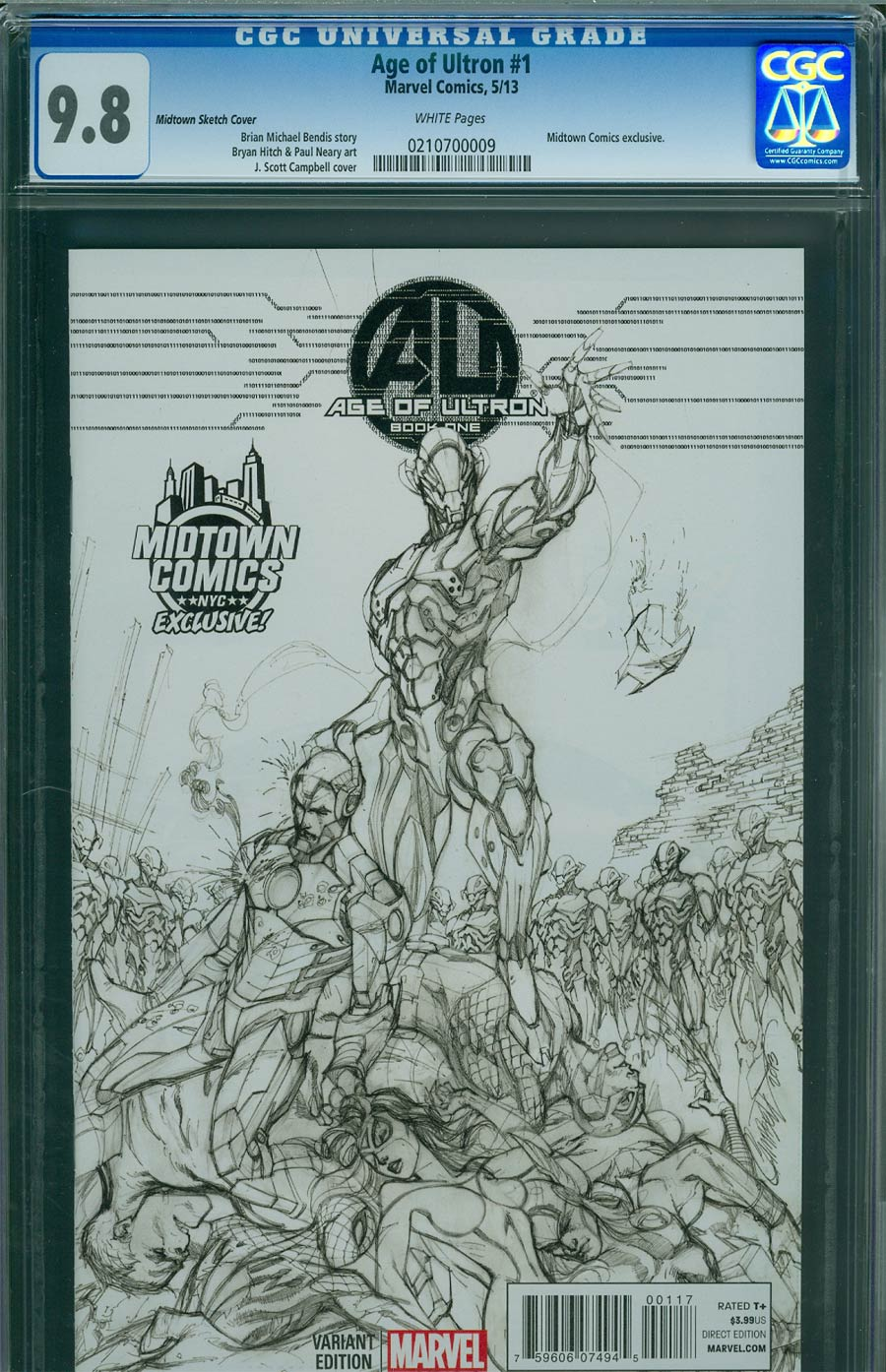 Age Of Ultron #1 Cover N Midtown Exclusive J Scott Campbell Sketch Variant Cover CGC 9.8