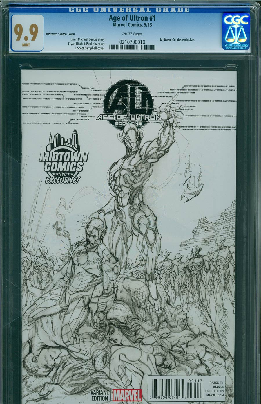 Age Of Ultron #1 Cover P Midtown Exclusive J Scott Campbell Sketch Variant Cover CGC 9.9