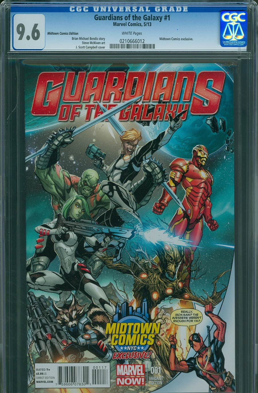 Guardians Of The Galaxy Vol 3 #1 Cover J Midtown Exclusive J Scott Campbell Deadpool Variant Cover CGC 9.6