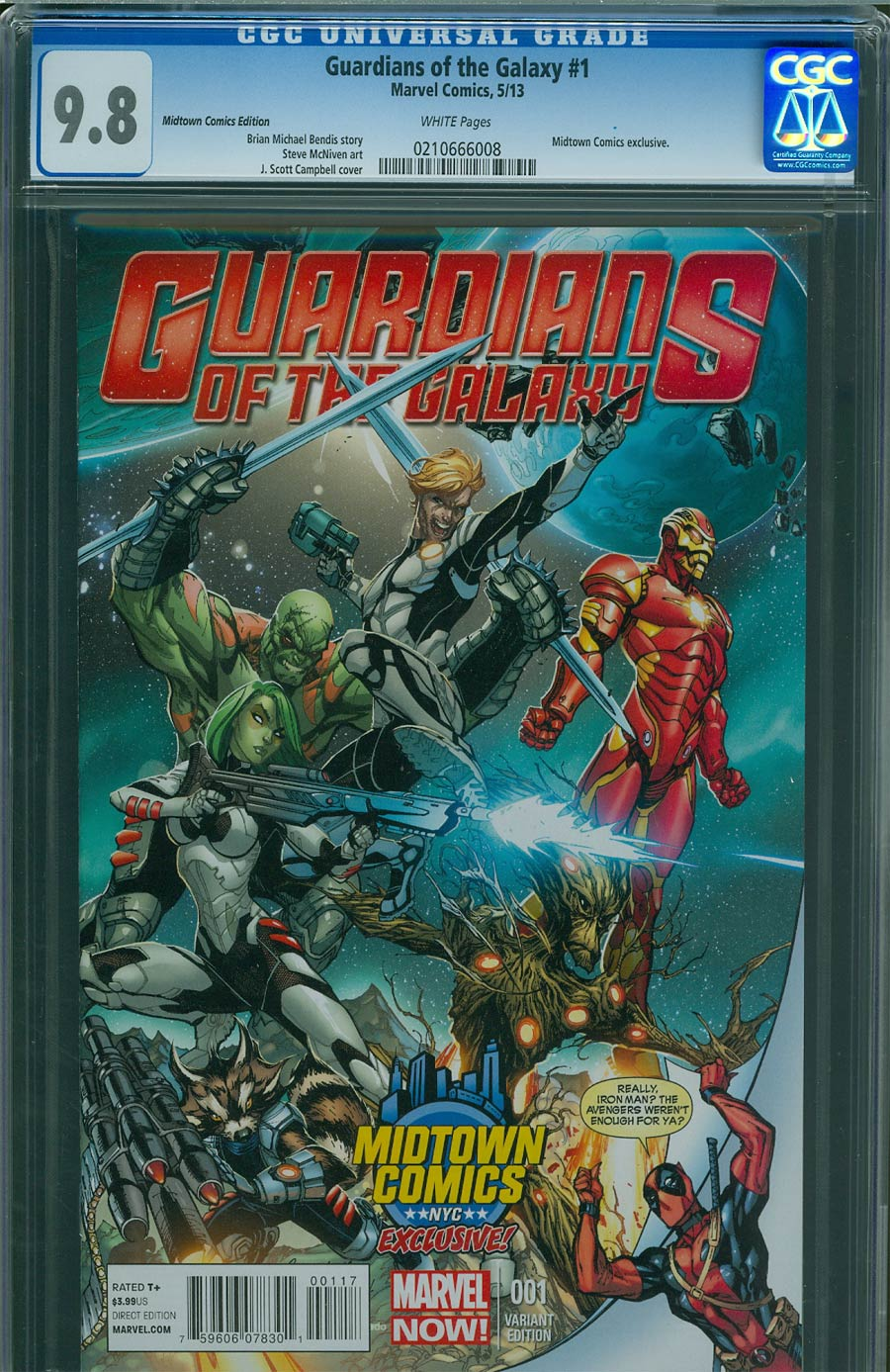 Guardians Of The Galaxy Vol 3 #1 Cover K Midtown Exclusive J Scott Campbell Deadpool Variant Cover CGC 9.8