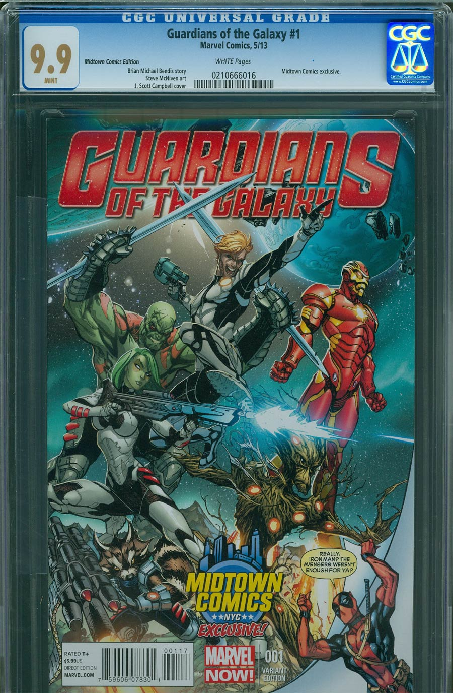 Guardians Of The Galaxy Vol 3 #1 Cover L Midtown Exclusive J Scott Campbell Deadpool Variant Cover CGC 9.9