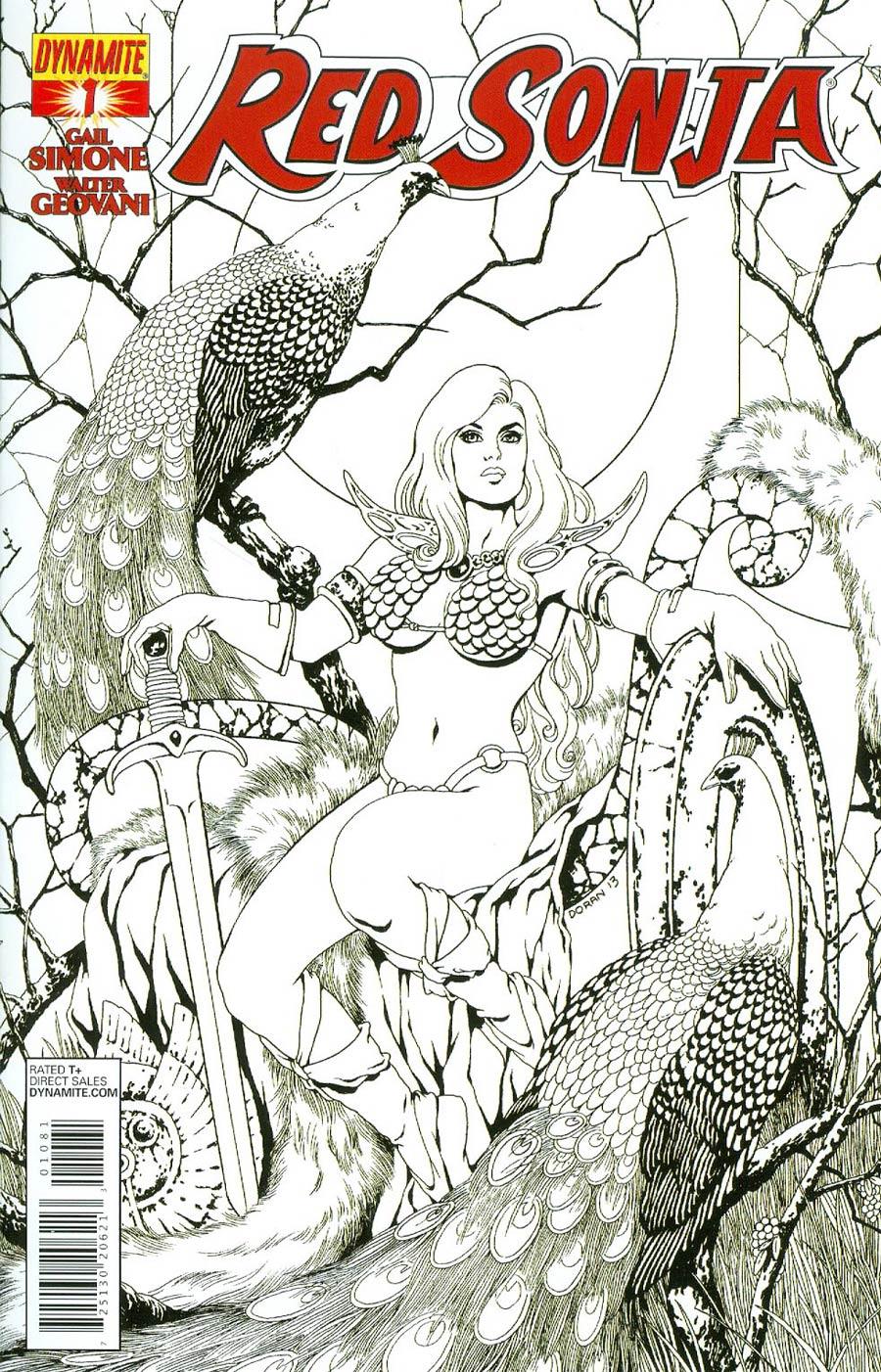 Red Sonja Vol 5 #1 Cover I Incentive Colleen Doran Black & White Cover
