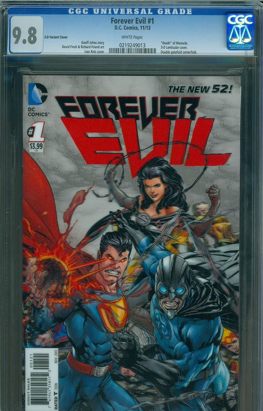 Forever Evil #1 Cover J Incentive 3D Motion Variant Cover CGC 9.8