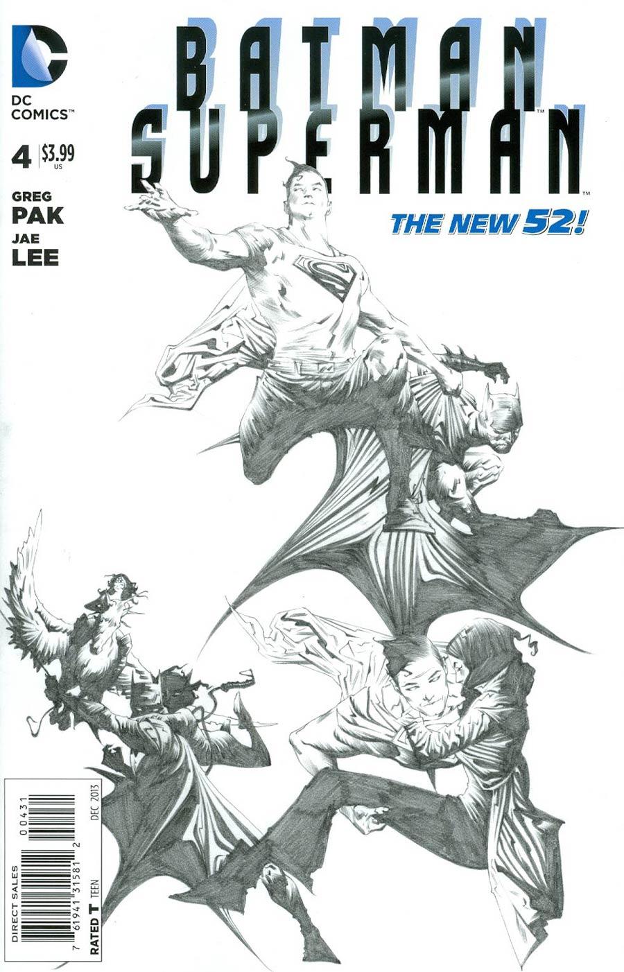 Batman Superman #4 Cover E Incentive Jae Lee Sketch Cover