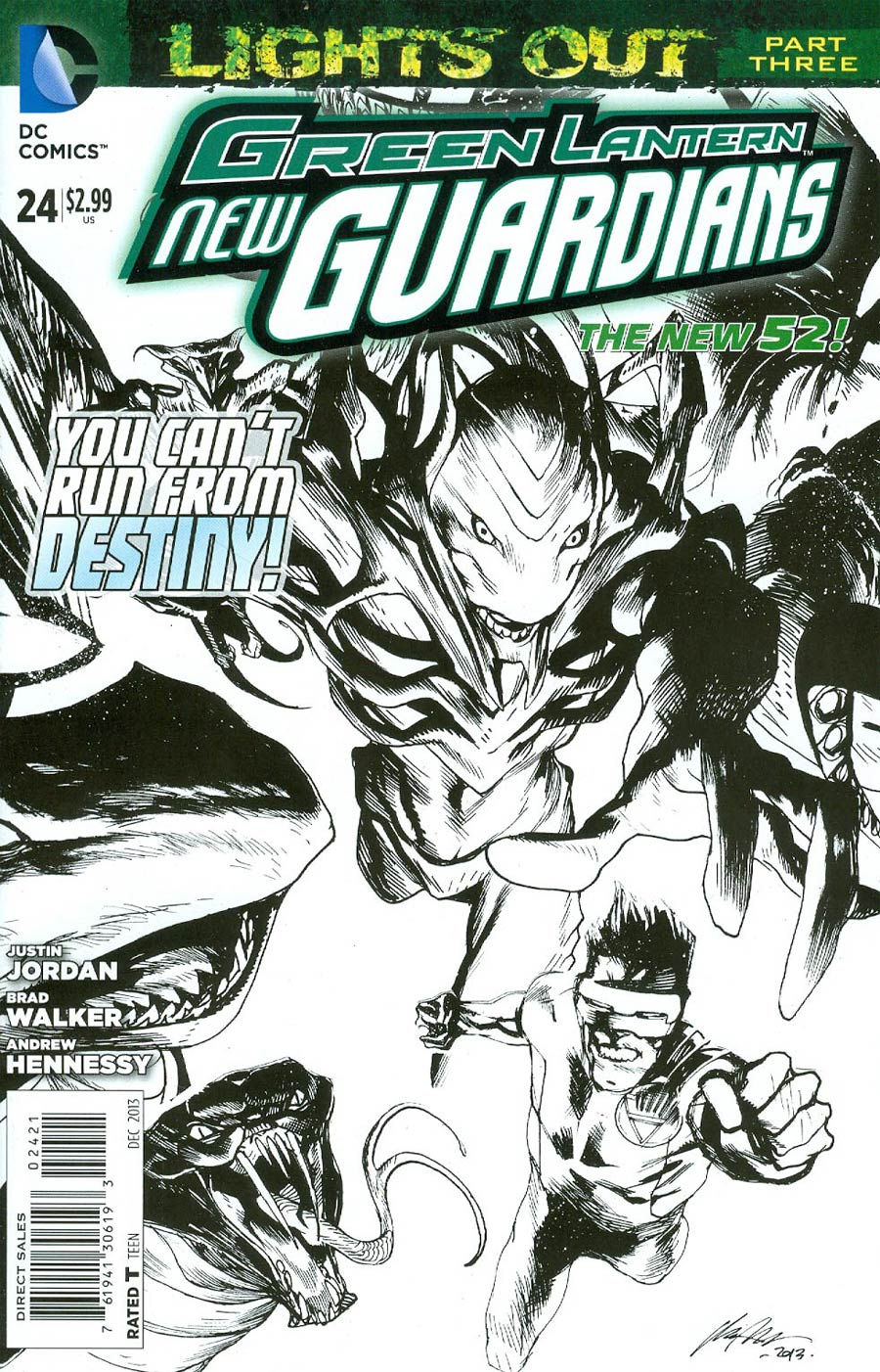 Green Lantern New Guardians #24 Cover B Incentive Rafael Albuquerque Sketch Cover (Lights Out Part 3)