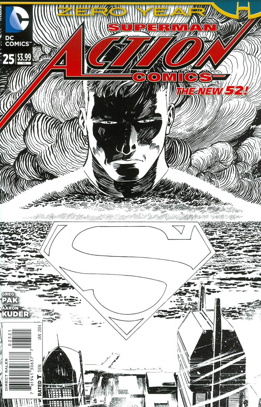 Action Comics Vol 2 #25 Cover B Incentive Aaron Kuder Sketch Cover (Batman Zero Year Tie-In)