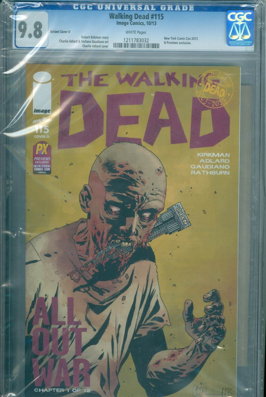 Walking Dead #115 Cover R DF NYCC Previews Exclusive Charlie Adlard Variant Cover CGC Graded
