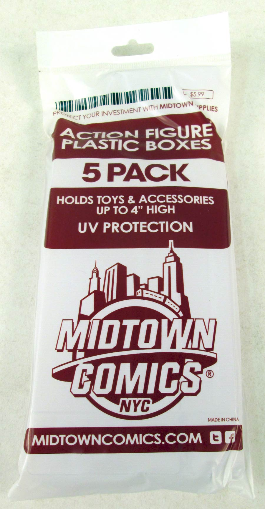 Midtown Comics Action Figure Acrylic Boxes 5-Pack Small
