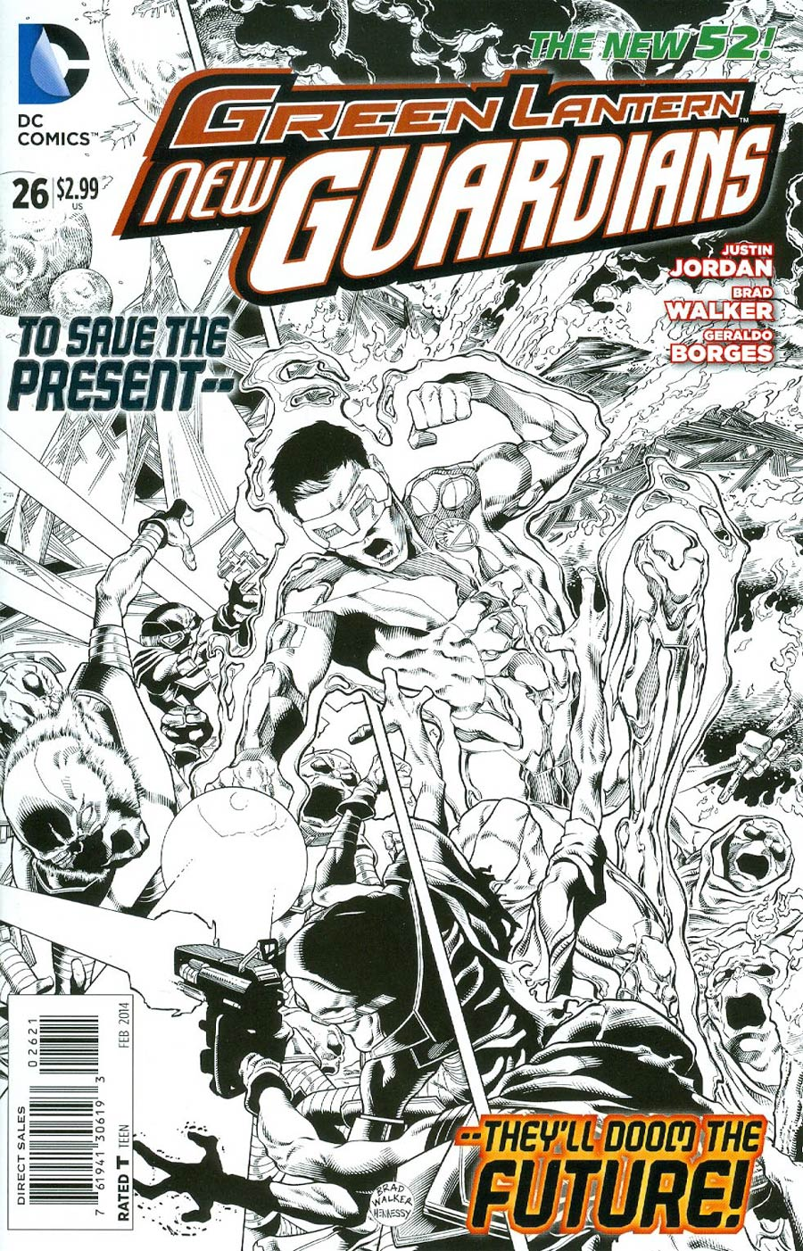 Green Lantern New Guardians #26 Cover B Incentive Brad Walker Sketch Cover