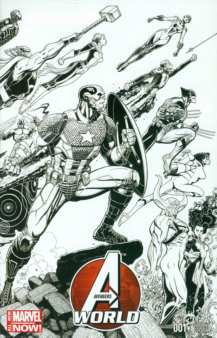 Avengers World #1 Cover H Incentive Arthur Adams Wraparound Sketch Variant Cover