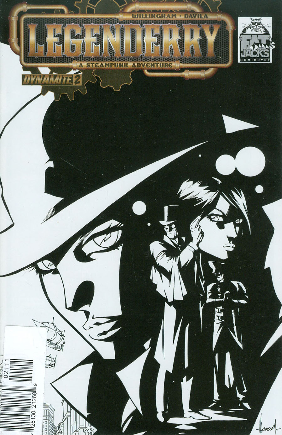 Legenderry A Steampunk Adventure #2 Cover G DF Fat Jacks Limited Edition Black & White Variant Cover