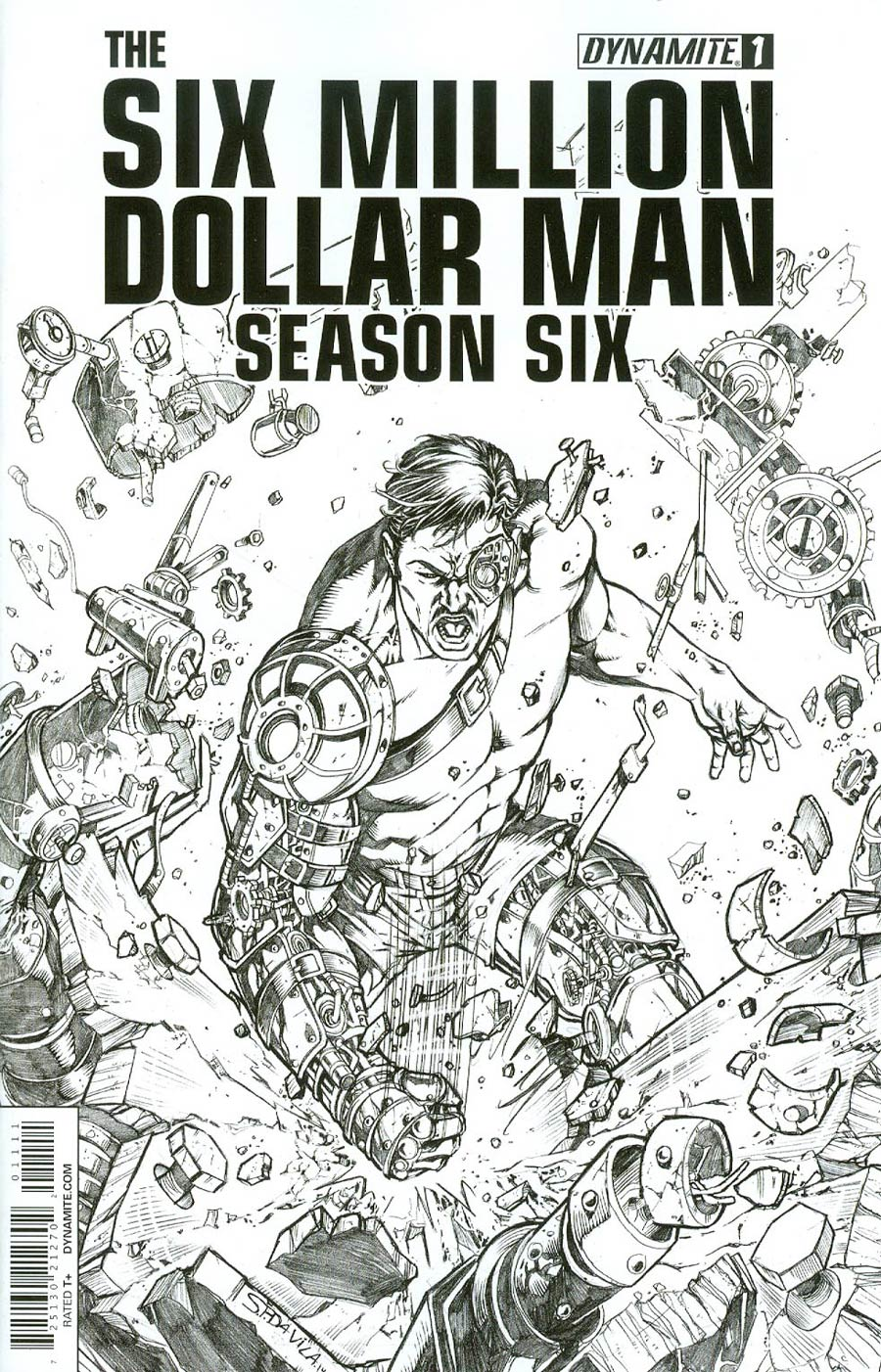 Six Million Dollar Man Season 6 #1 Cover F Incentive Sergio Davila Steampunk Black & White Variant Cover