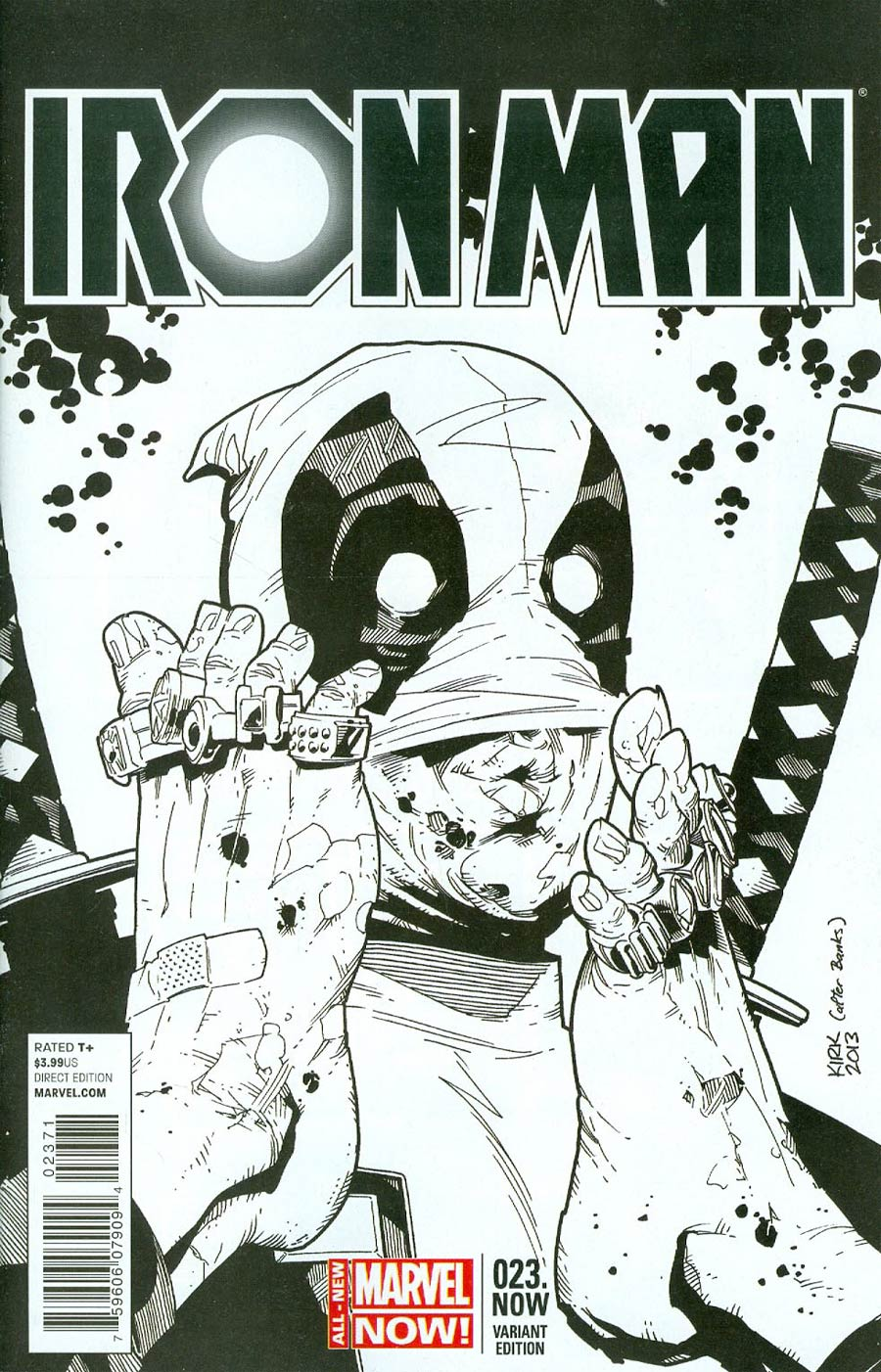 Iron Man Vol 5 #23.NOW Cover E Incentive Leonard Kirk Deadpool Party Sketch Variant Cover