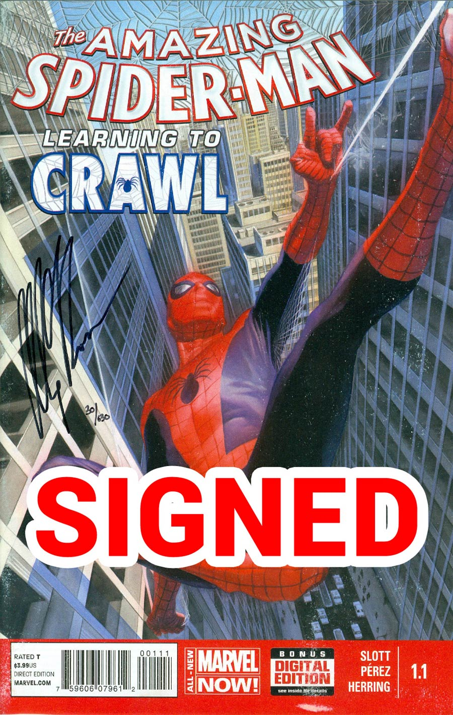 Amazing Spider-Man Vol 3 #1.1 Cover J DF Signed By Alex Ross