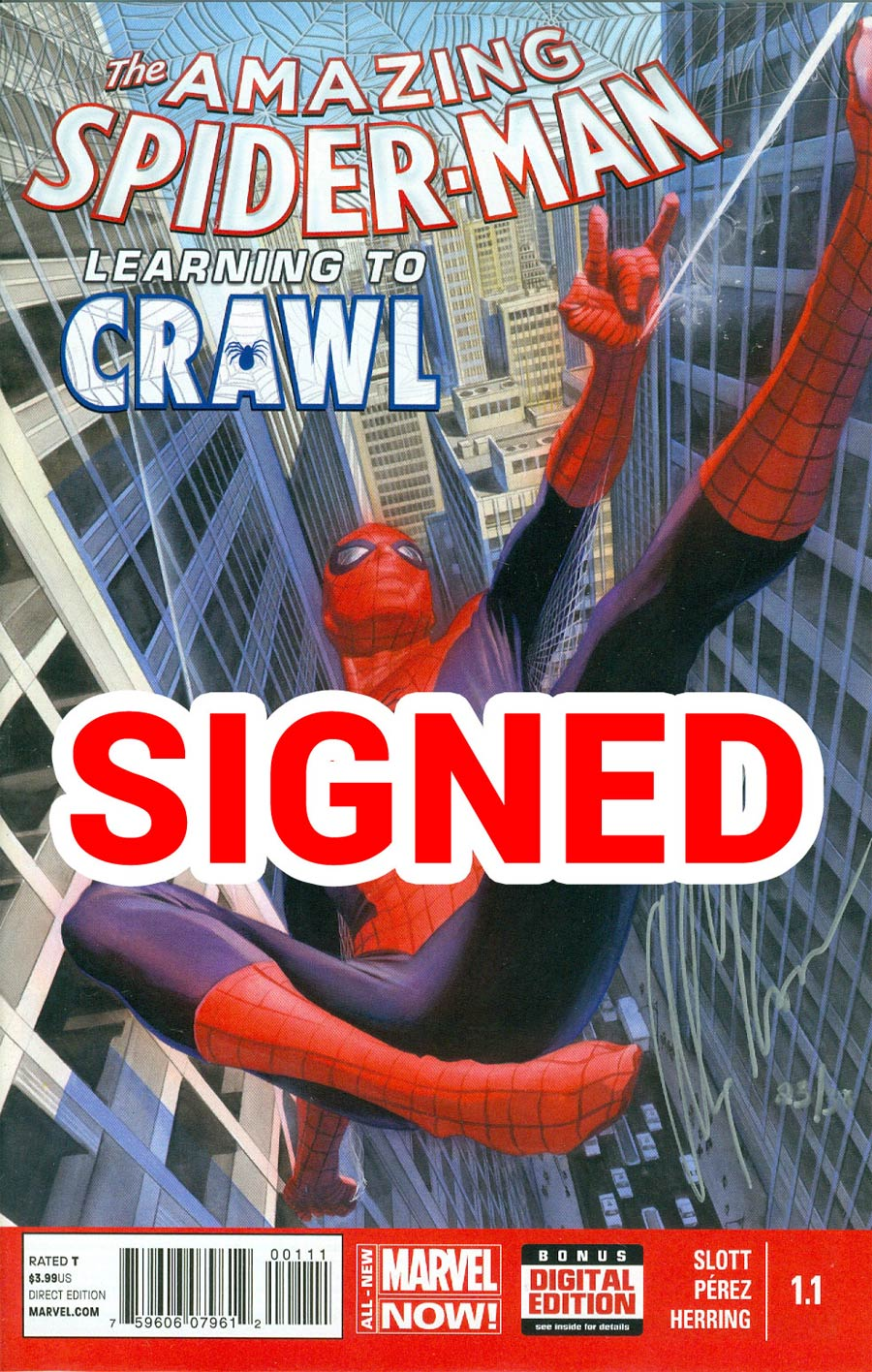 Amazing Spider-Man Vol 3 #1.1 Cover G DF Silver Signature Series Signed By Alex Ross