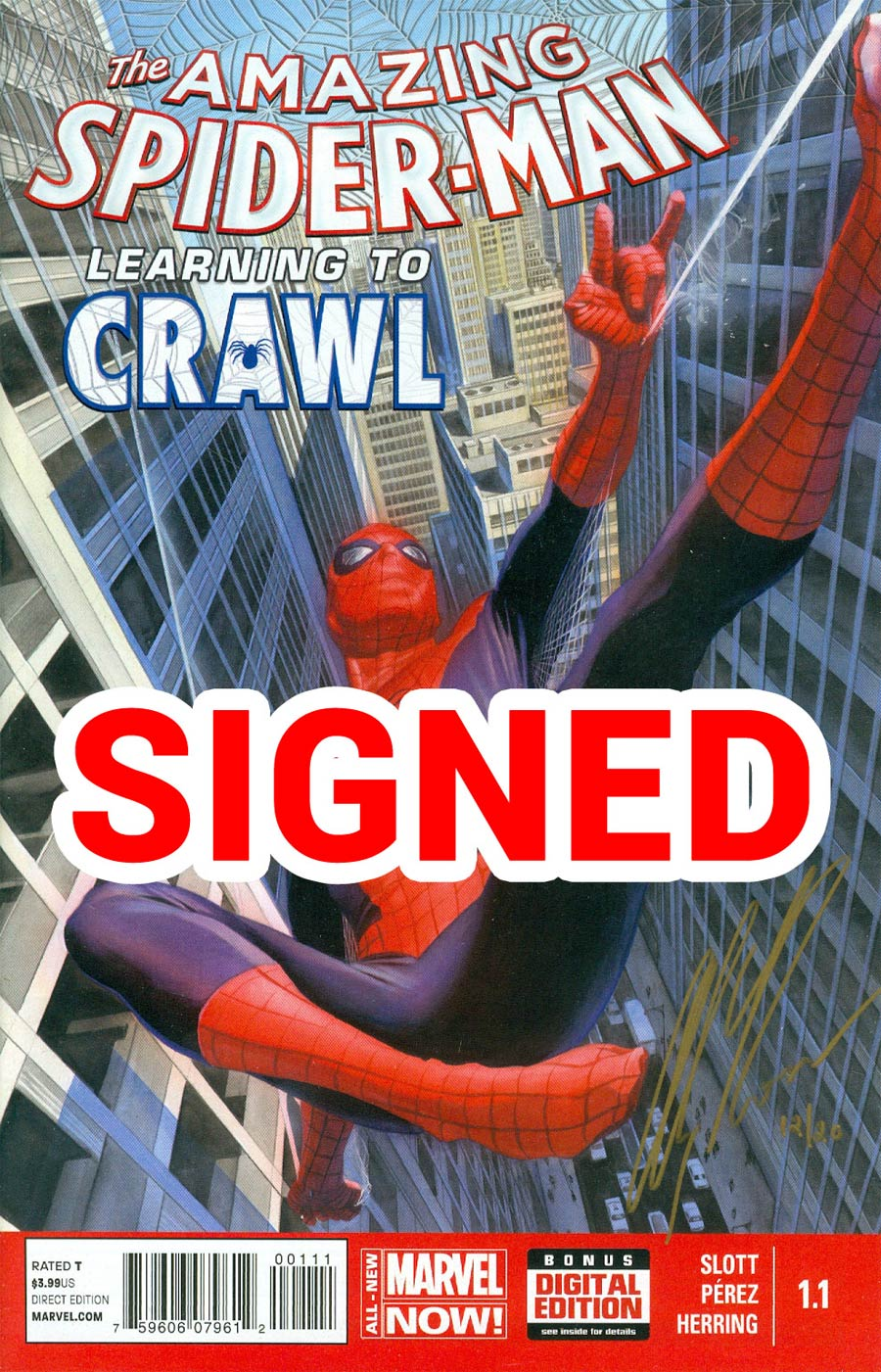 Amazing Spider-Man Vol 3 #1.1 Cover H DF Gold Signature Series Signed By Alex Ross