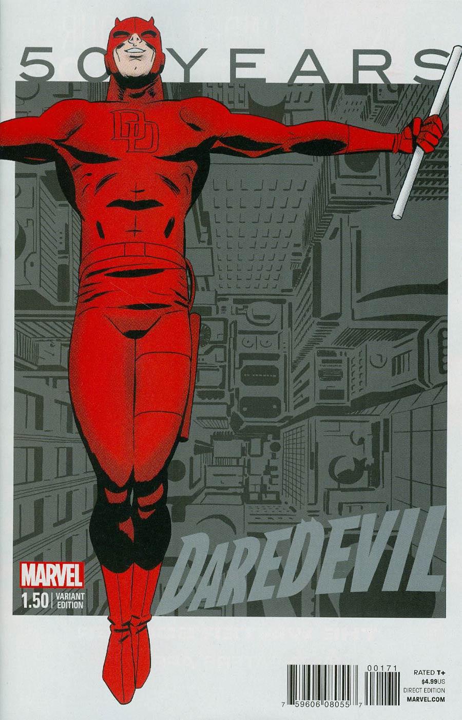 Daredevil Vol 4 #1.50 Cover G Variant Marcos Martin 2000s Gray Cover