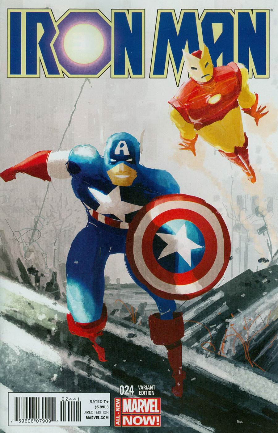Iron Man Vol 5 #24 Cover B Incentive Captain America Team-Up Variant Cover