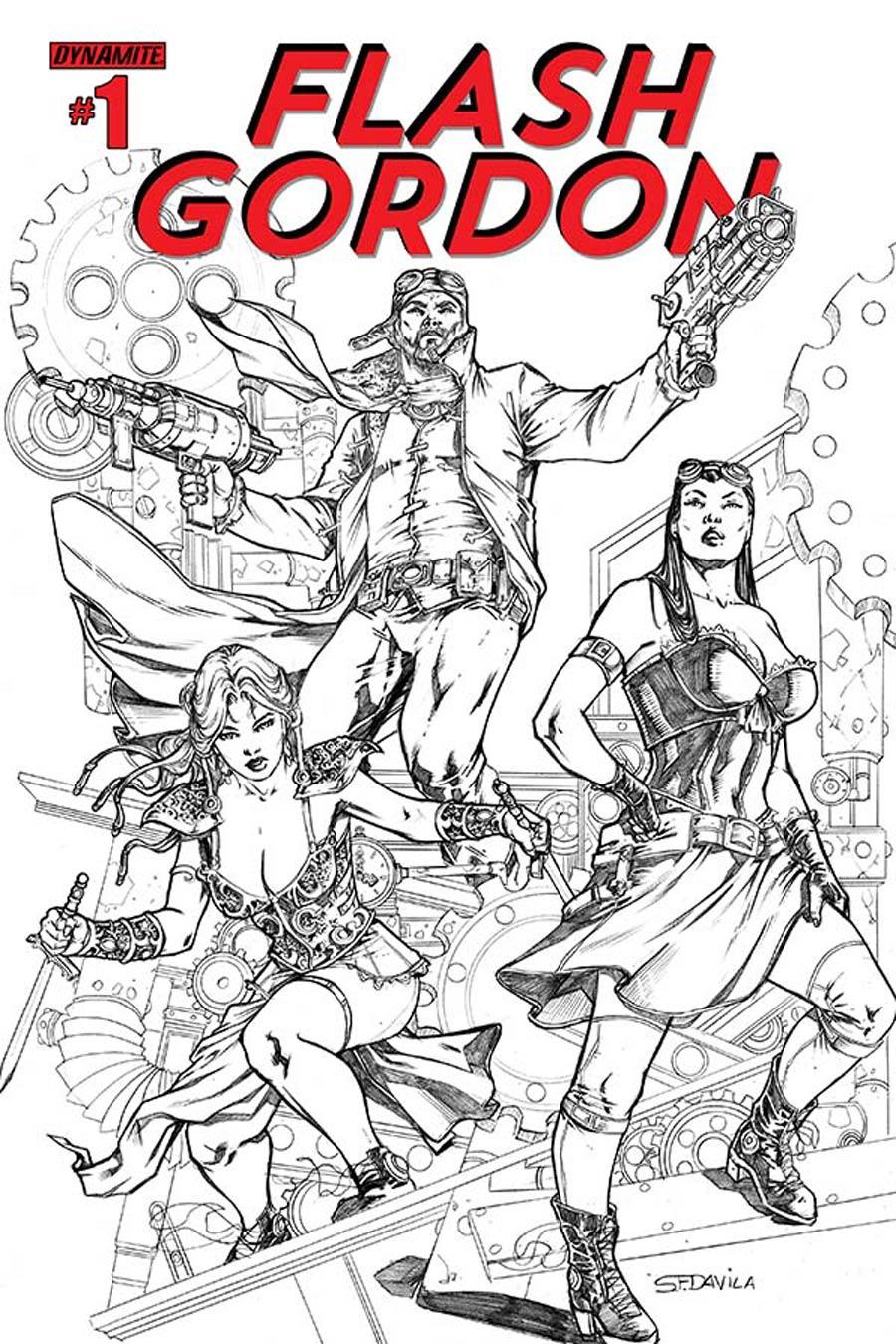 Flash Gordon Vol 7 #1 Cover J Incentive Sergio Fernandez Davila Steampunk Black & White Variant Cover