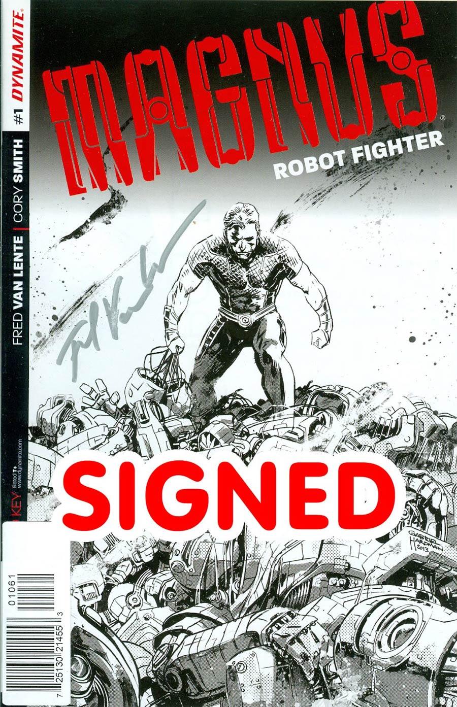 Magnus Robot Fighter Vol 4 #1 Cover L Incentive Gabriel Hardman Pure Line Art Silver Signature Signed By Fred Van Lente