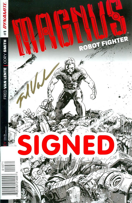 Magnus Robot Fighter Vol 4 #1 Cover M Incentive Gabriel Hardman Pure Line Art Gold Signature Signed By Fred Van Lente