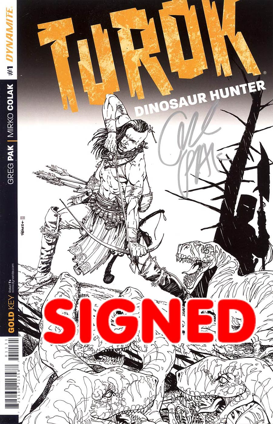Turok Dinosaur Hunter Vol 2 #1 Cover L Incentive Bart Sears Line Art Cover Silver Signature Signed By Greg Pak
