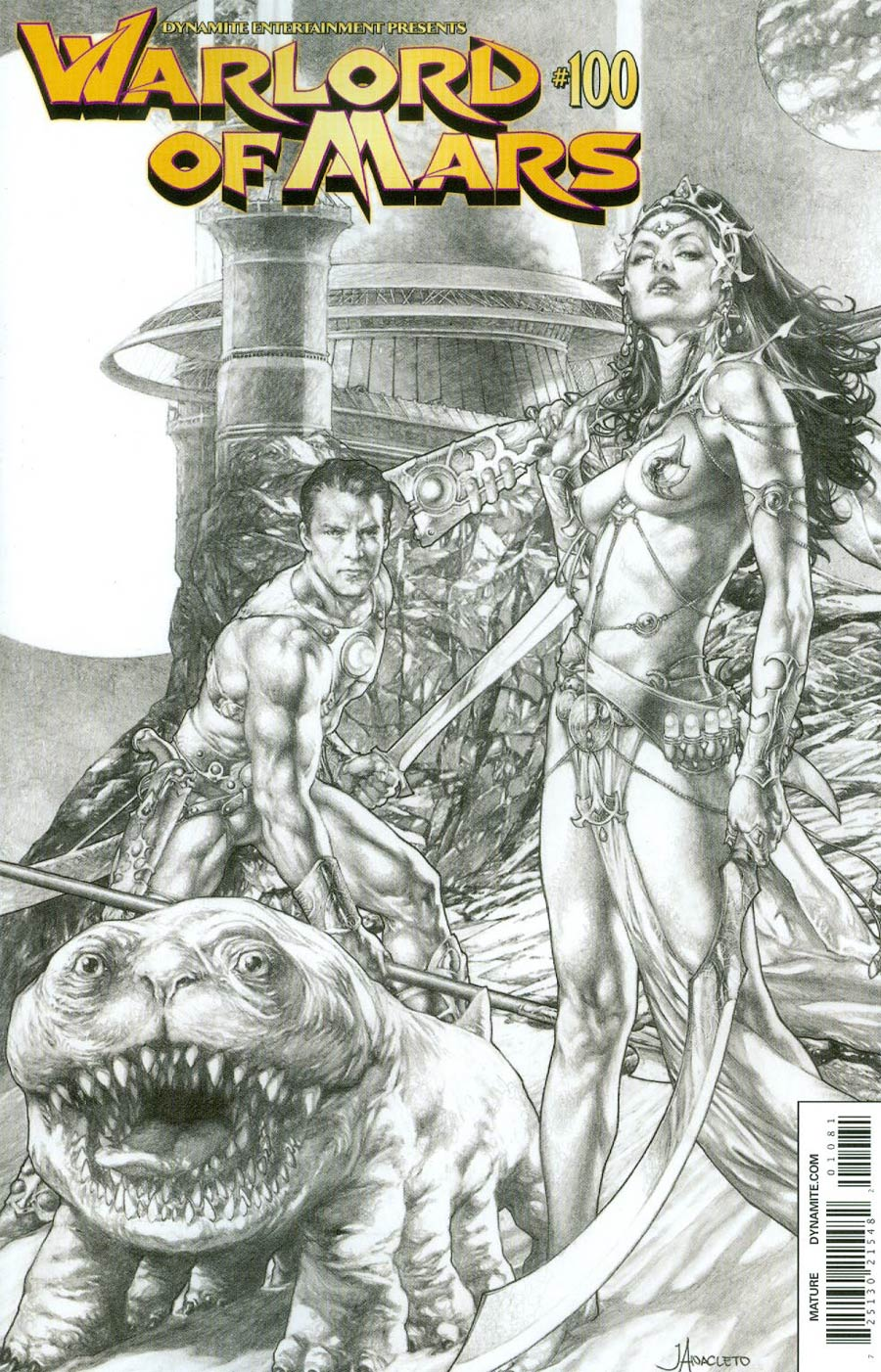 Warlord Of Mars #100 Cover H Variant Jay Anacleto Black & White Cover